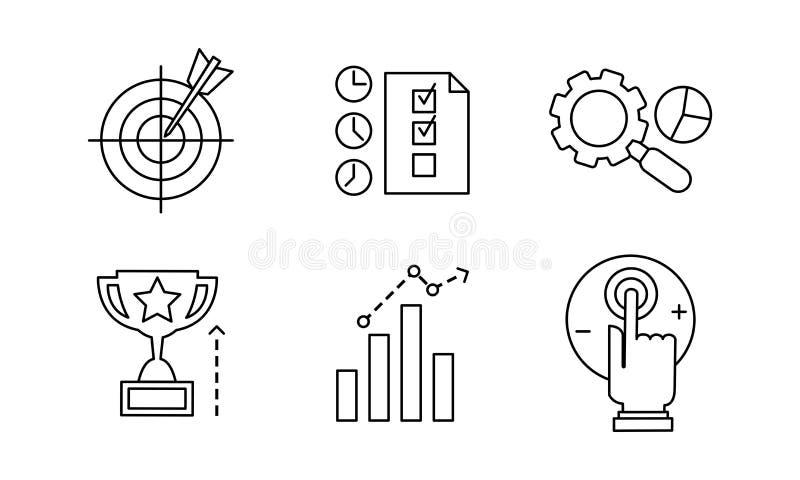 La linea icone di SEO ha messo, commercializzando, commercio elettronico, illustrazione di vettore degli elementi dello sviluppo  illustrazione di stock