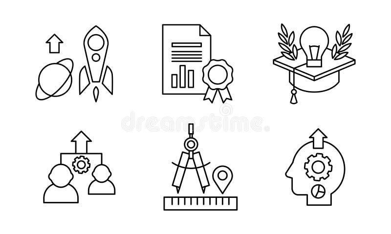 La linea icone di SEO ha messo, processi aziendali dell'ottimizzazione del motore di ricerca, la vendita, il commercio elettronic illustrazione di stock