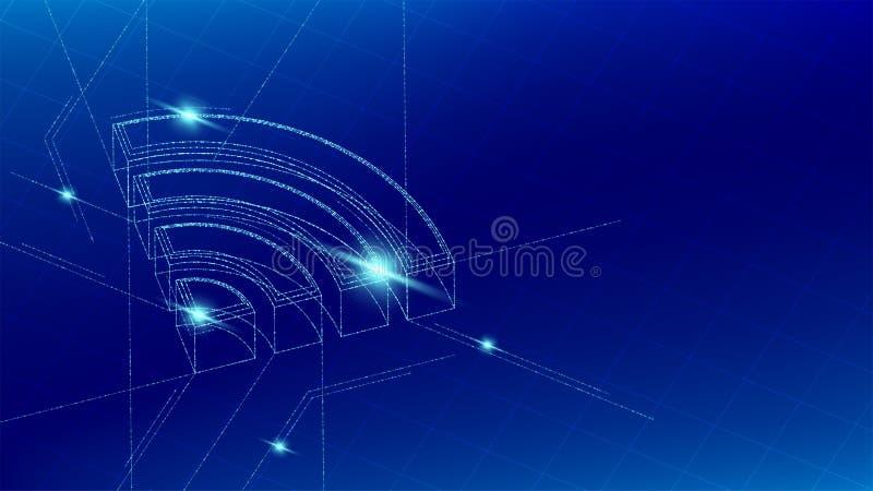 La linea isometrica della particella di simbolo di simbolo di Wifi che accende il wireframe futuristico, Internet del modello col illustrazione vettoriale