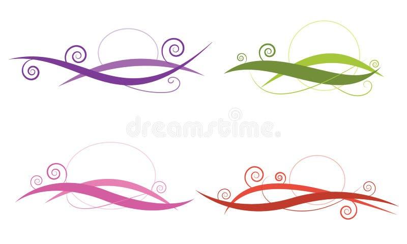 La linea l'estratto quattro di turbinio disegna il vettore dell'insieme di colore per l'elemento, de illustrazione vettoriale