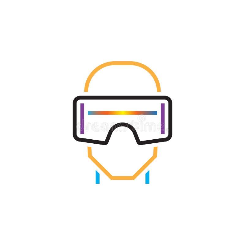 La linea l'icona, vetri della cuffia avricolare di realtà virtuale del vr descrive l'illustrazione di logo di vettore, pittogramm illustrazione di stock