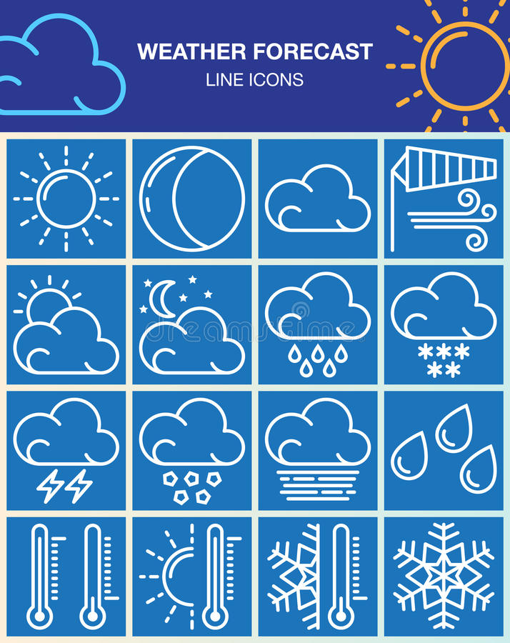 La linea le icone messe, raccolta di previsioni del tempo di simbolo di vettore del profilo, pittogramma bianco lineare ingrassa  illustrazione di stock