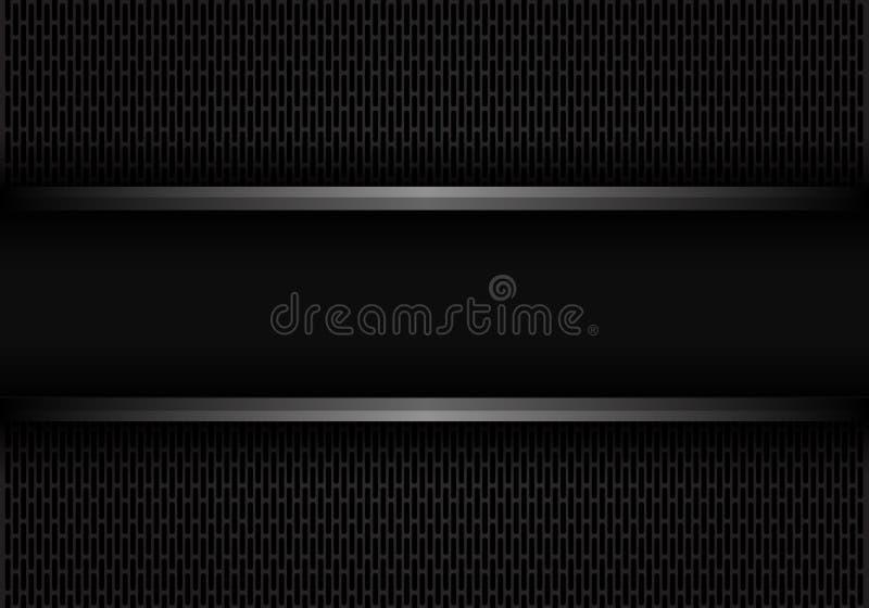 La linea nera astratta insegna del metallo su buio ha arrotondato il vettore futuristico moderno del fondo di progettazione della illustrazione di stock