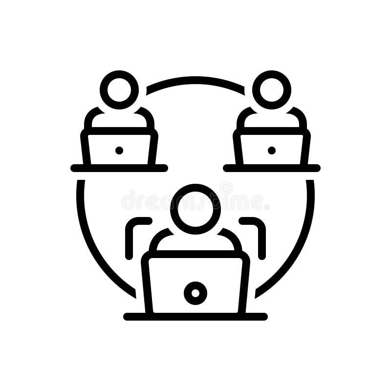La linea nera icona per Facilitate, rende facile ed a computer portatile illustrazione di stock
