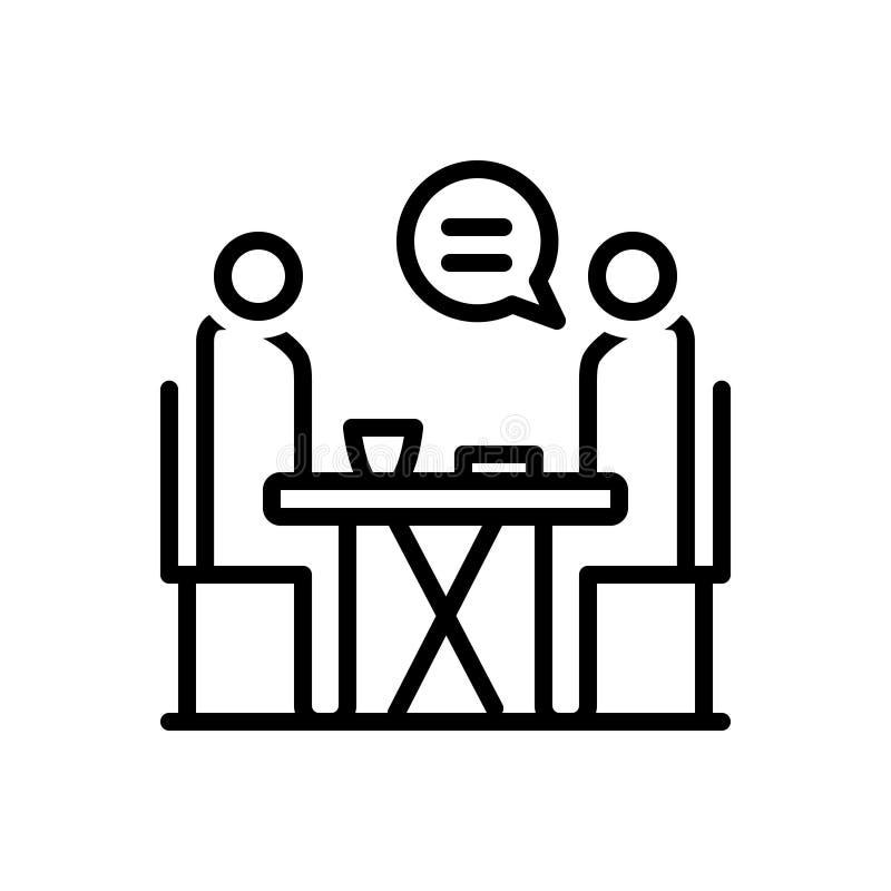 La linea nera icona per il consiglio, raccomanda e datare illustrazione vettoriale