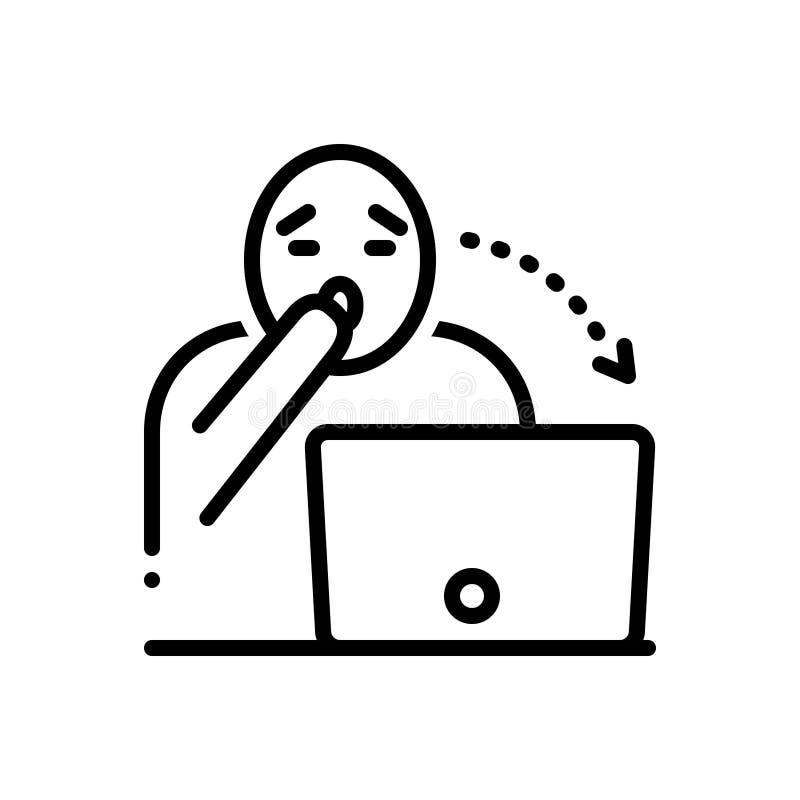 La linea nera icona per sbalordire, stupisce e sorpreso royalty illustrazione gratis