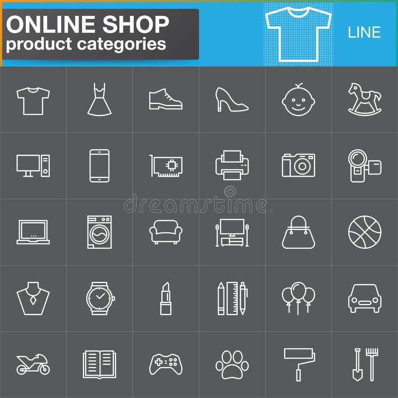 La linea online icone di categorie di prodotto di acquisto ha fissato, descrive il vettore illustrazione vettoriale