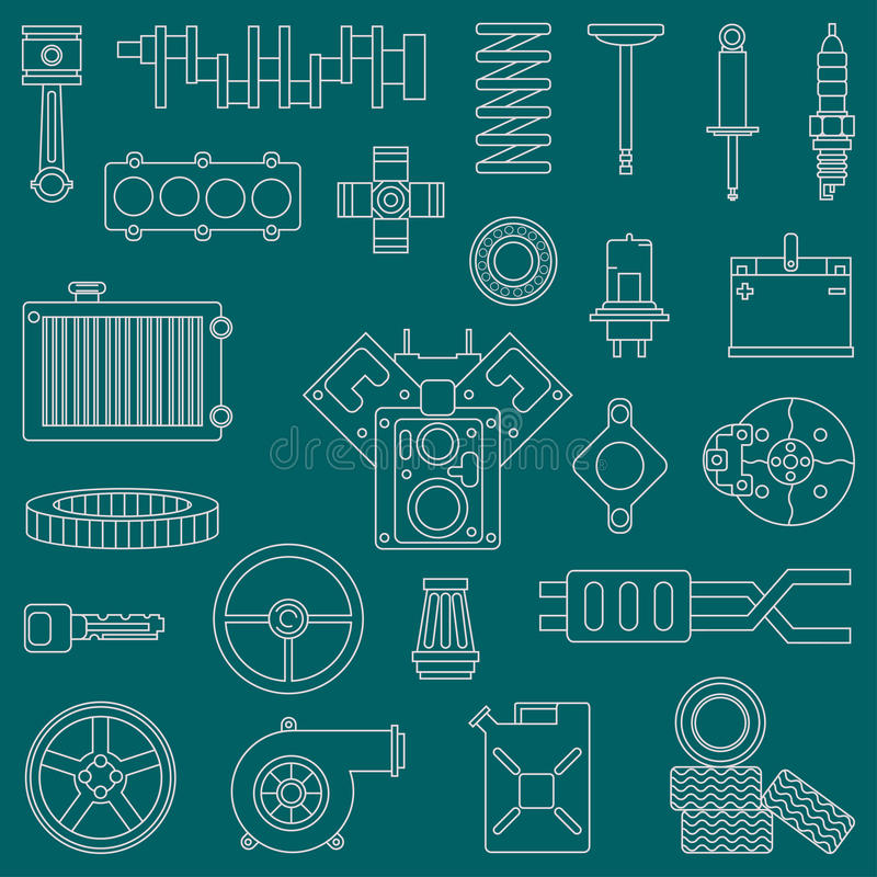 La linea parti piane dell'automobile dell'icona di vettore ha messo con gli elementi del motore a combustione interna di conclusi royalty illustrazione gratis