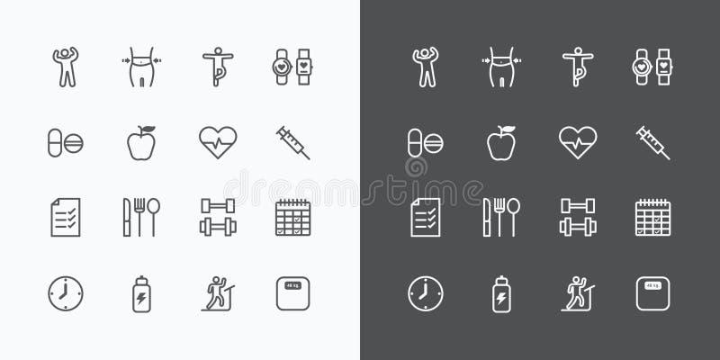 La linea piana delle icone della siluetta di forma fisica e di salute progetta il vettore illustrazione di stock