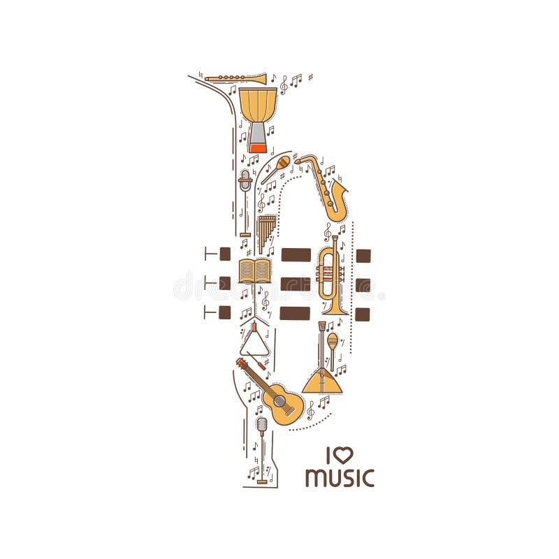 La linea piana icona di musica ha messo nella forma della tromba Concetto di vettore Illustrazione moderna Progettazione d'annata royalty illustrazione gratis