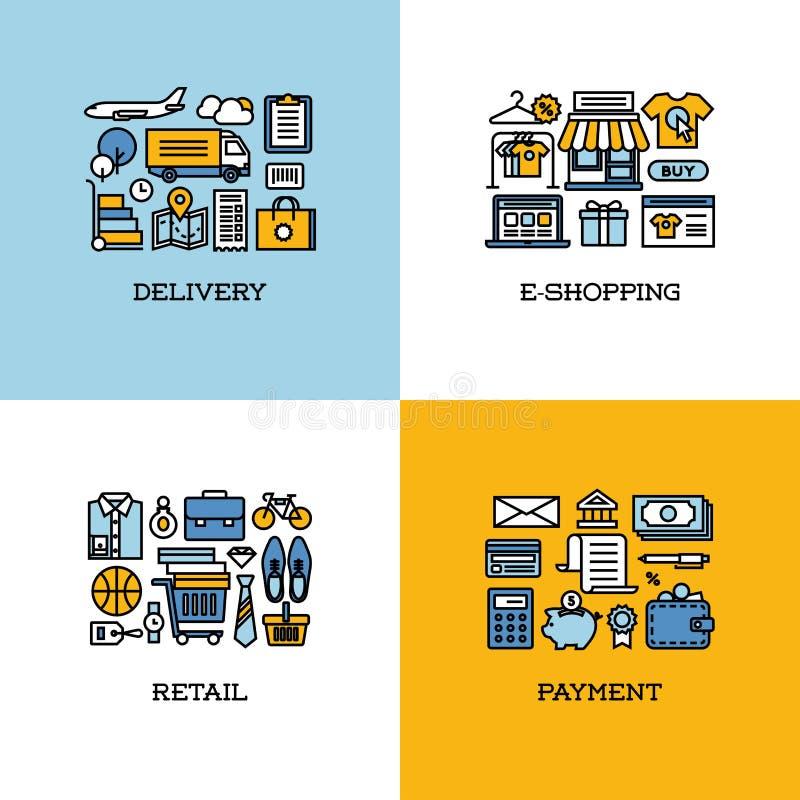 La linea piana icone ha messo della consegna, l'e-shopping, la vendita al dettaglio, pagamento illustrazione vettoriale