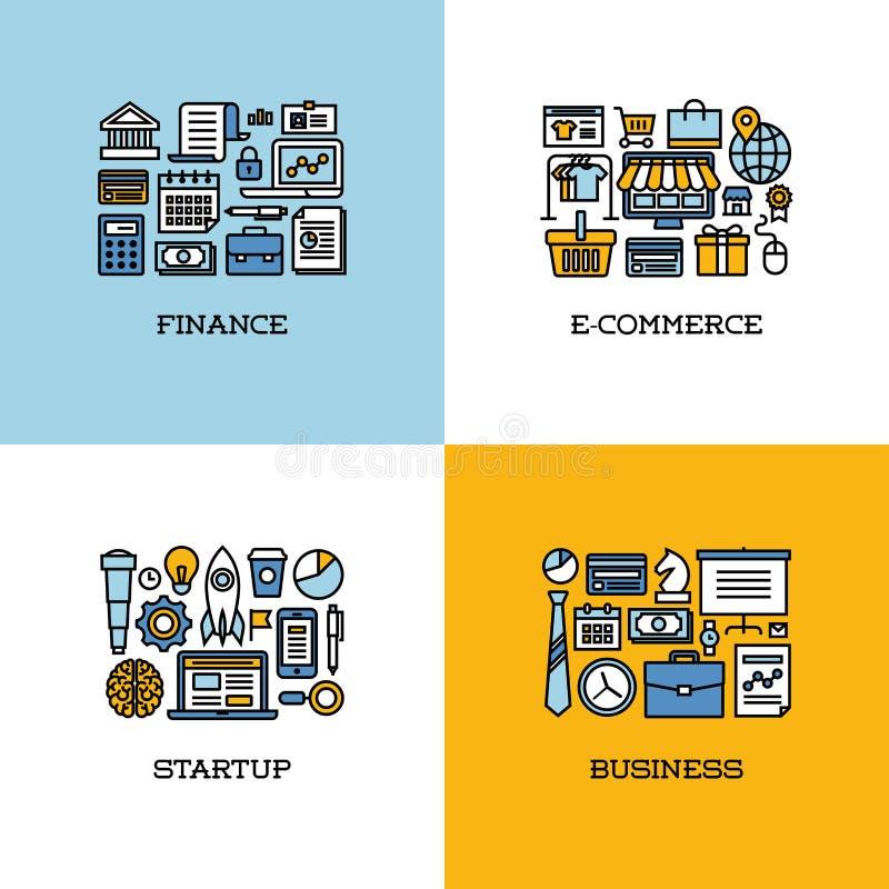La linea piana icone ha messo di finanza, il commercio elettronico, la partenza, affare illustrazione vettoriale