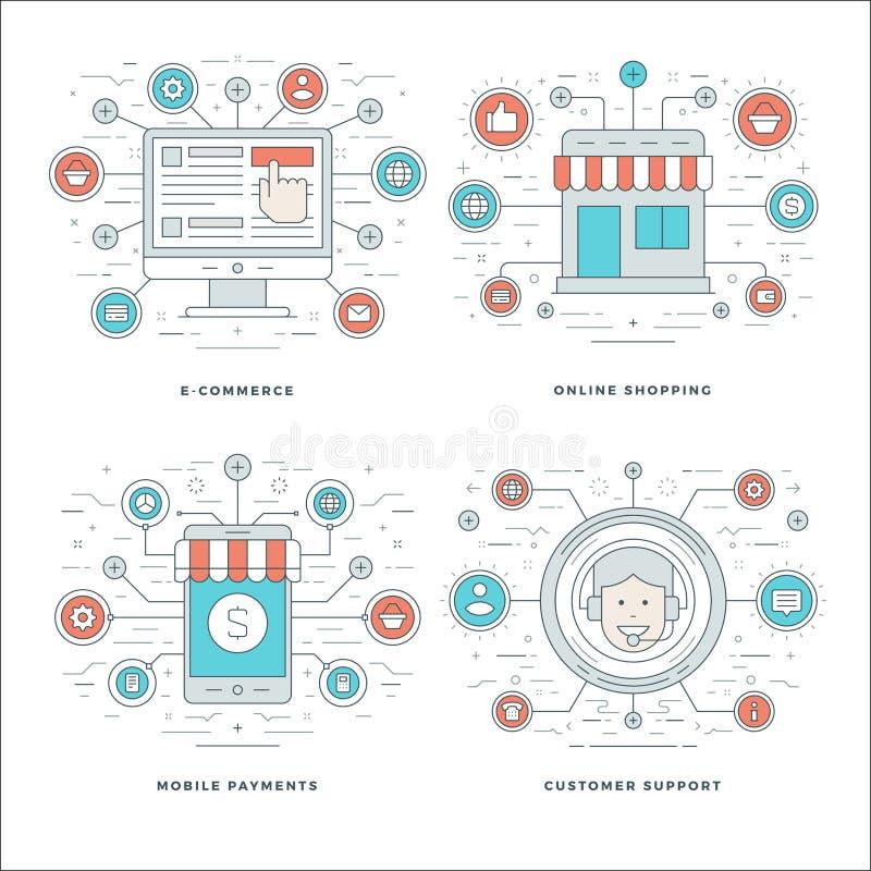 La linea piana il commercio elettronico, i pagamenti mobili, servizio clienti, concetti di compera di affari ha messo le illustra illustrazione vettoriale