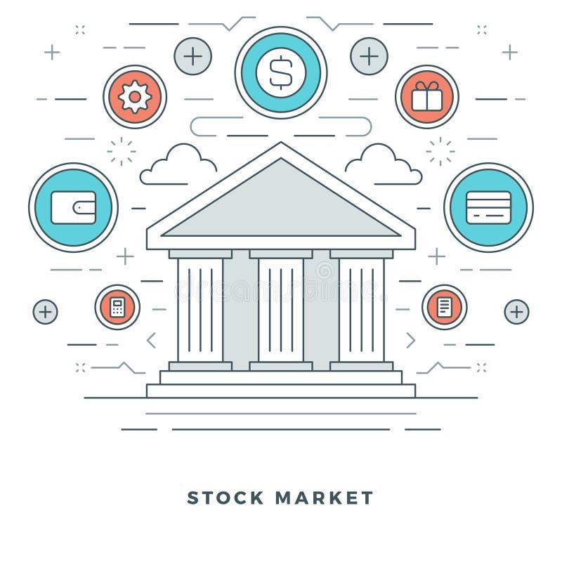La linea piana mercato azionario di affari tratta il concetto illustrazione vettoriale
