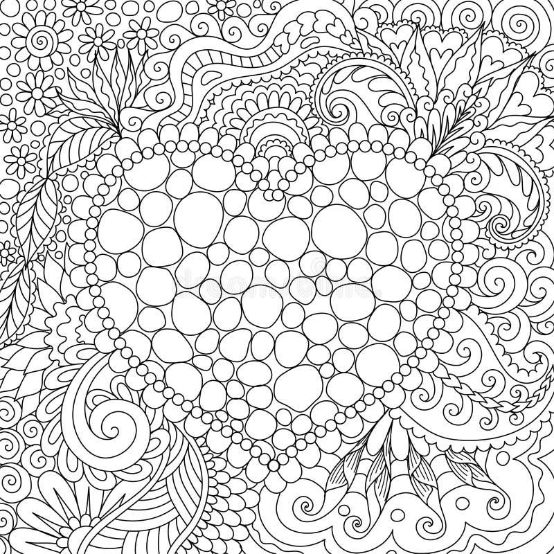 La linea progettazione di arte dei toni sistema nella forma hearted e circondato dai bei fiori e foglia per la carta, stampa sul  royalty illustrazione gratis