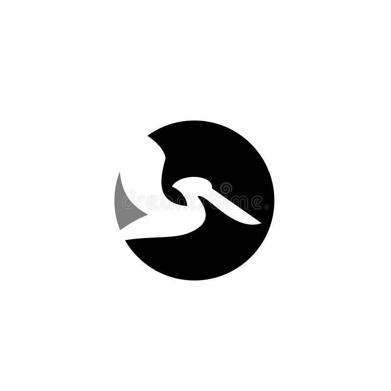 La linea semplice icona del profilo del nero di logo della mosca del pellicano di logo della siluetta dell'insieme progetta il ve illustrazione di stock