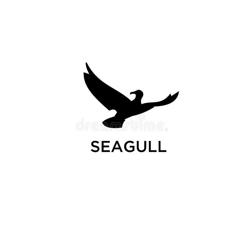 La linea semplice icona del profilo del nero di logo del gabbiano di logo della siluetta dell'insieme progetta il vettore per il  royalty illustrazione gratis