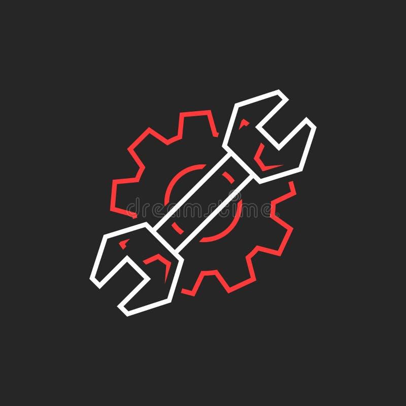 La linea sottile chiave ed ingranaggio gradisce il logo di servizio di riparazione illustrazione vettoriale