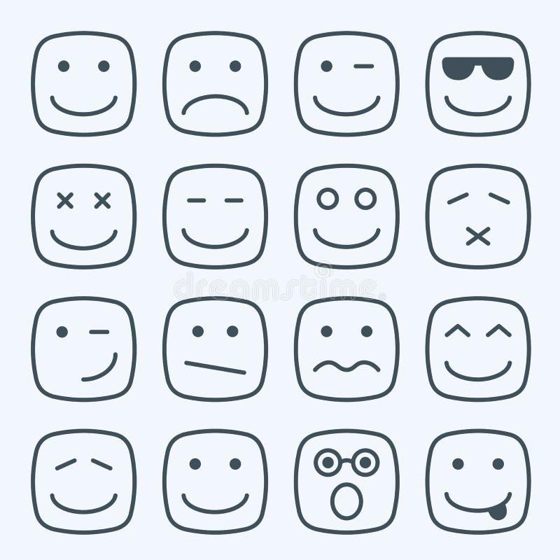 La linea sottile giallo quadrato emozionale affronta l'icona illustrazione di stock