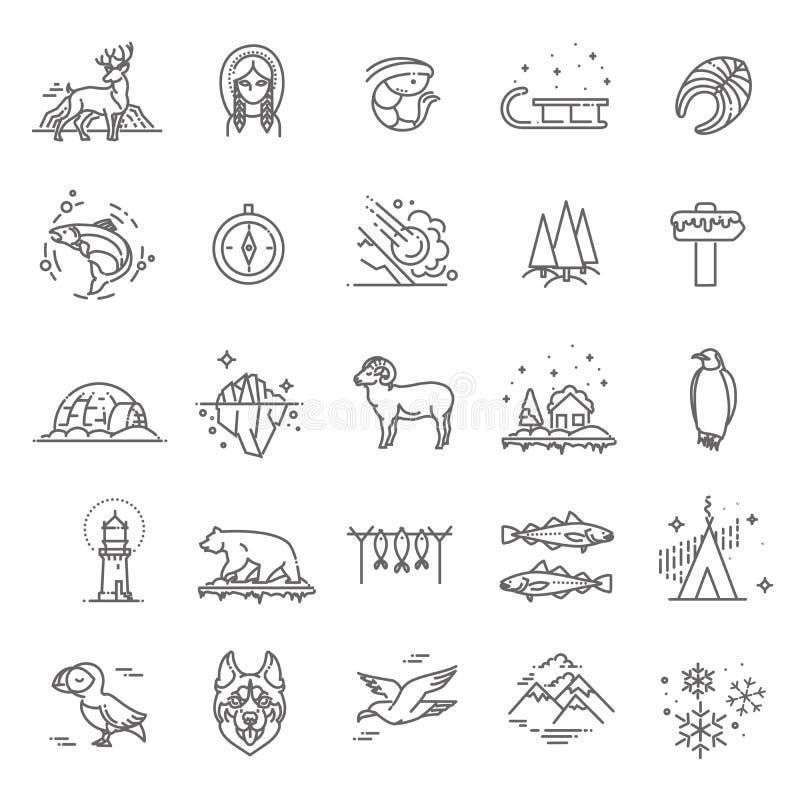 La linea sottile icone artiche ha messo, illustrazione di vettore del logos del profilo del polo nord illustrazione vettoriale