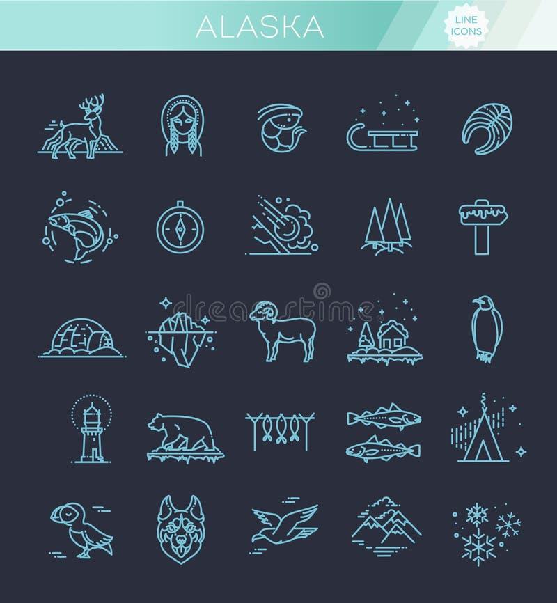 La linea sottile icone artiche ha messo, illustrazione di vettore del logos del profilo del polo nord royalty illustrazione gratis