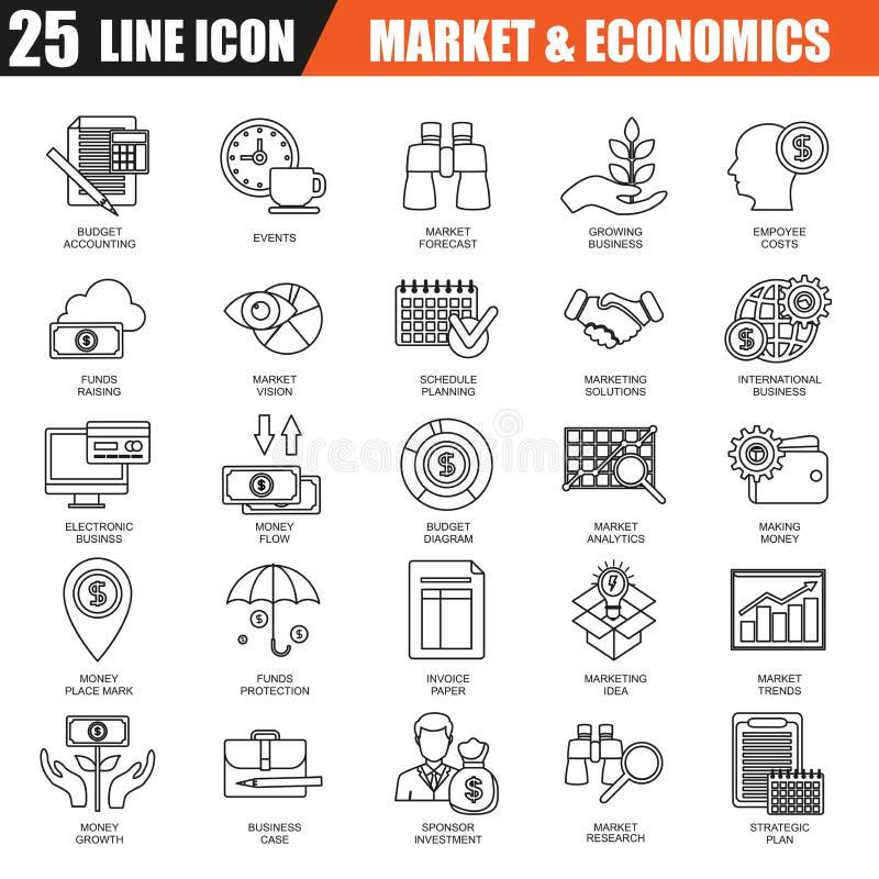 La linea sottile icone ha messo dell'economia, delle attività bancarie e dei servizi finanziari, risparmio dei soldi illustrazione di stock