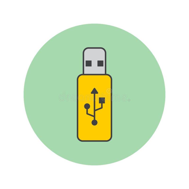 La linea sottile l'icona, memoria flash del bastone del Usb ha riempito il ceppo di vettore del profilo royalty illustrazione gratis