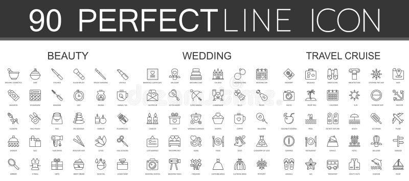 90 la linea sottile moderna icone ha messo dei cosmetici di bellezza, le nozze, crociera di viaggio illustrazione di stock