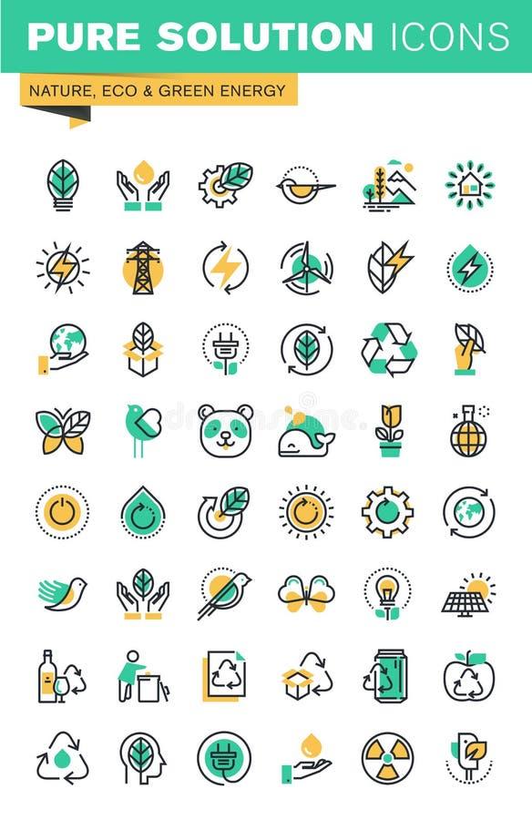 La linea sottile moderna icone ha messo dell'ecologia, la tecnologia sostenibile, energia rinnovabile, riciclante illustrazione di stock
