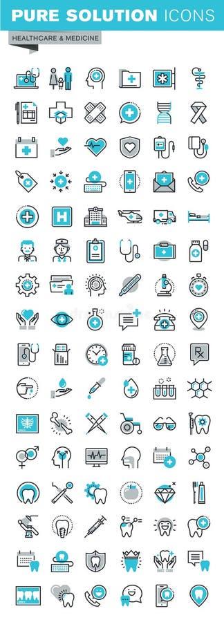 La linea sottile moderna icone piane di progettazione ha messo dei rifornimenti medici, della diagnosi di sanità e del trattament royalty illustrazione gratis