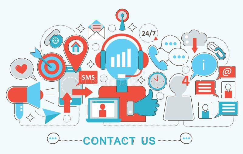 La linea sottile piana moderna progettazione ci contatta concetto di sostegno per il sito Web, la presentazione, l'aletta di fila royalty illustrazione gratis