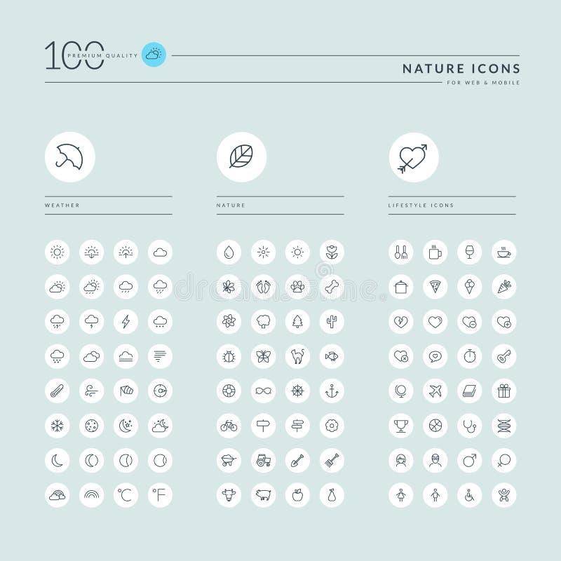 La linea sottile raccolta delle icone di web per il sito Web ed il app progettano illustrazione di stock