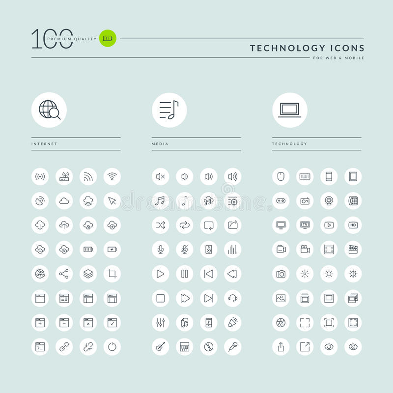 La linea sottile raccolta delle icone di web per il sito Web ed il app progettano illustrazione vettoriale