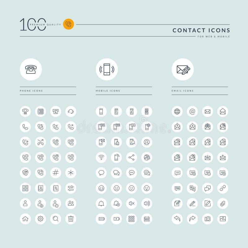 La linea sottile raccolta delle icone di web per il sito Web ed il app progettano royalty illustrazione gratis