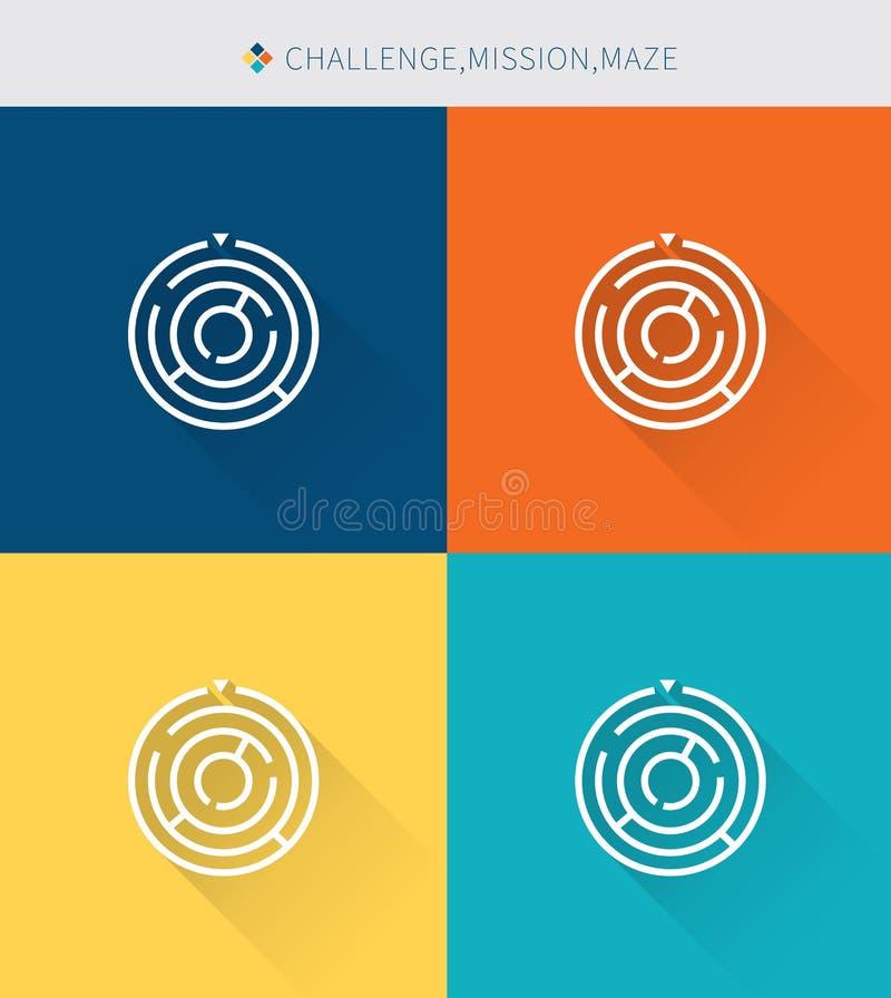 La linea sottile sottile icone ha messo della sfida & missione e labirinto, stile semplice moderno illustrazione vettoriale