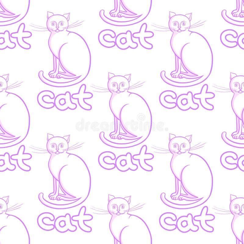 La linea sveglia gatti di arte vector il modello senza cuciture con gli animali e l'iscrizione illustrazione vettoriale