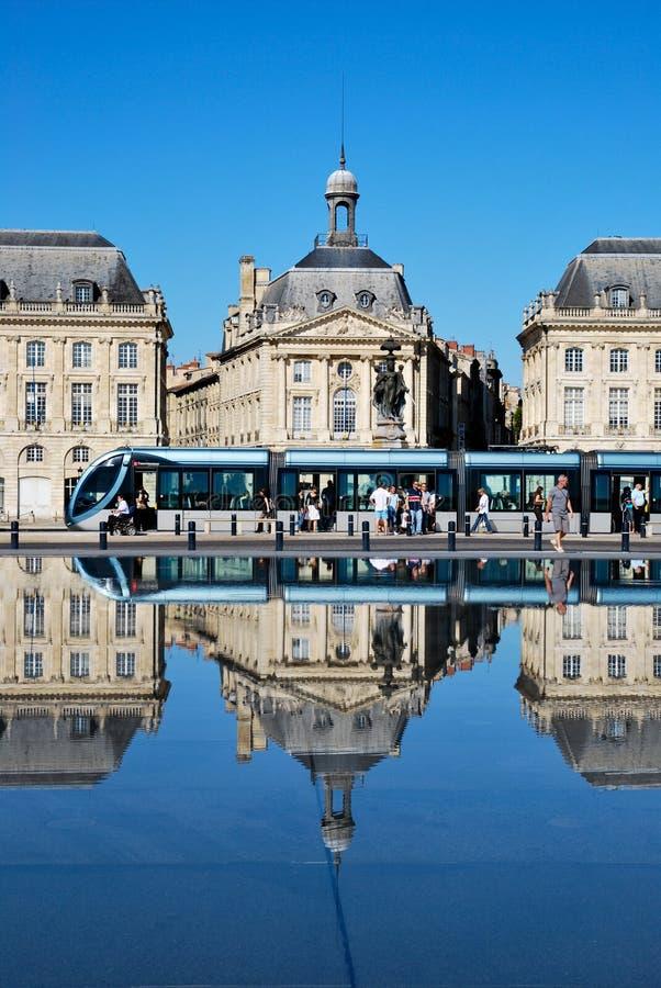 La linea tranviaria in Bordeaux fotografia stock