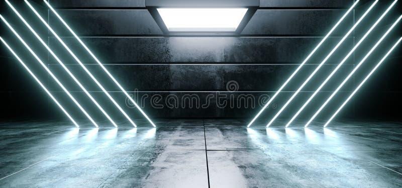 La linea vibrante blu fluorescente d'ardore del triangolo del neon concreto riflettente lucido straniero vuoto scuro virtuale del royalty illustrazione gratis