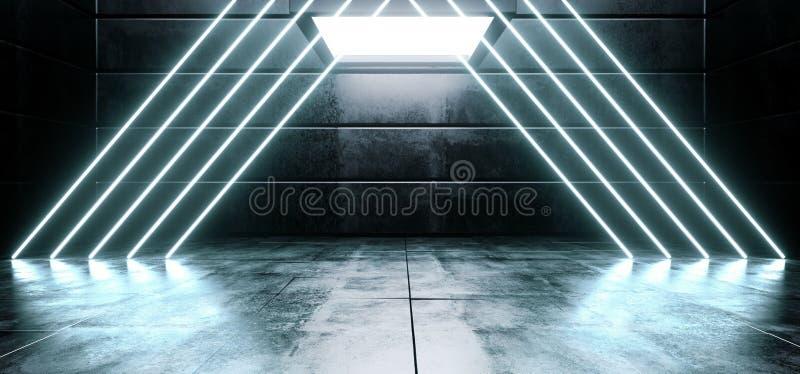 La linea vibrante blu fluorescente d'ardore del triangolo del neon concreto riflettente lucido straniero vuoto scuro virtuale del illustrazione vettoriale