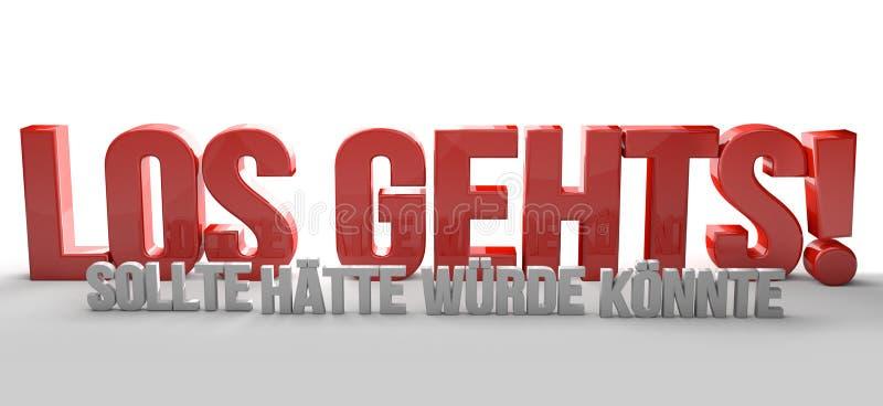 La lingua tedesca per l'inizio ora non aspetta 3D Renering illustrazione vettoriale