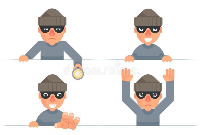La linterna de la mano del ladrón que ase codicioso malvado que mira furtivamente hacia fuera entrega abandona a personajes de di libre illustration