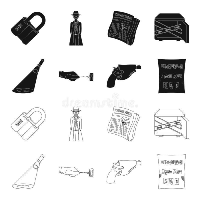 La linterna detective del ` s ilumina la huella, la mano criminal con la llave principal, una pistola del ` s en la pistolera ilustración del vector