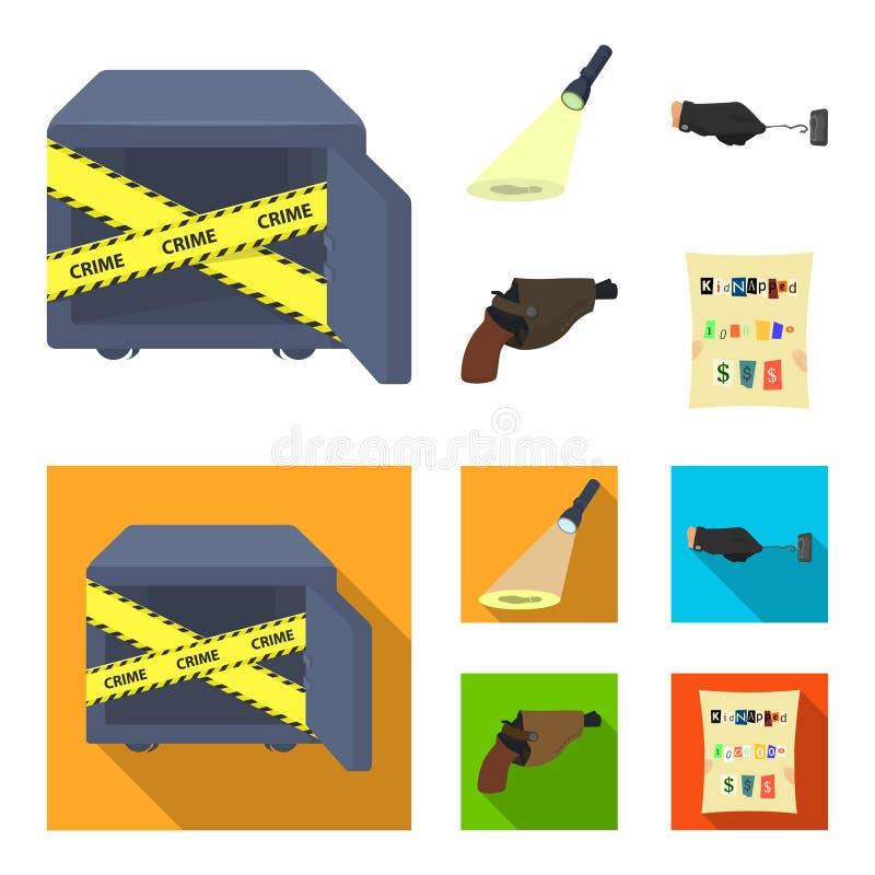 La linterna detective del ` s ilumina la huella, la mano criminal con la llave principal, una pistola del ` s en la pistolera stock de ilustración
