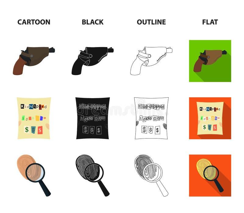 La linterna detective del ` s ilumina la huella, la mano criminal con la llave principal, una pistola del ` s en la pistolera libre illustration