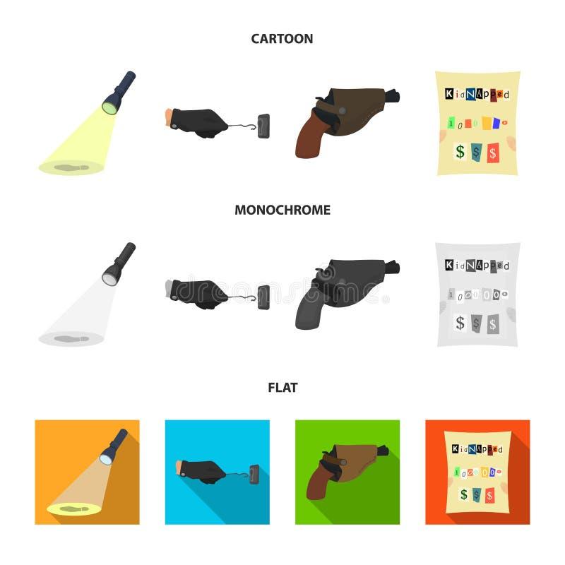 La linterna detective ilumina la huella, la mano criminal con la llave principal, una pistola en la pistolera, stock de ilustración