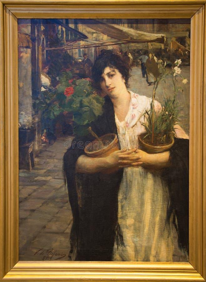 `-La Lisa Donna lurar I-fiori` 1889 av Vincenzo de Stefani royaltyfri fotografi