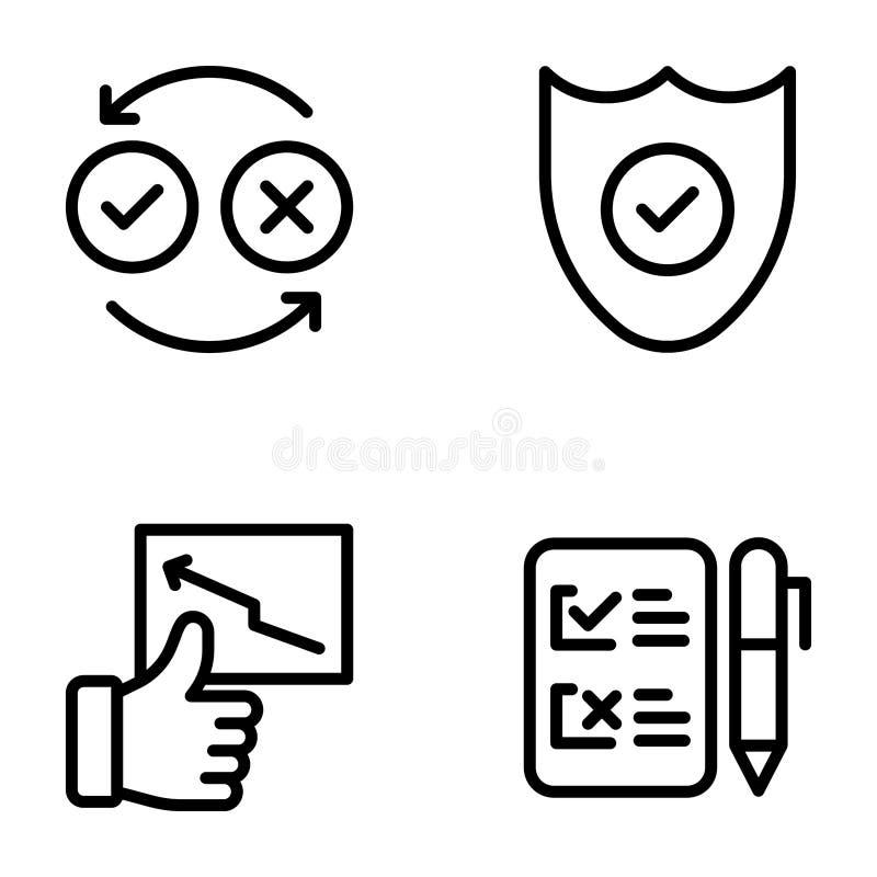 La lista de control y los grados alinean iconos embalan stock de ilustración