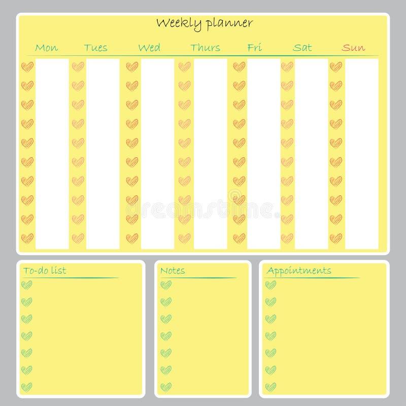 La lista de lío semanal del organizador del planificador observa el calendario imprimible ilustración del vector
