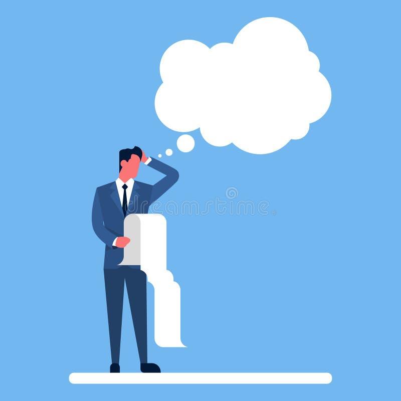 La lista de verificación larga del control del hombre de negocios reflexiona la burbuja de pensamiento de la charla libre illustration