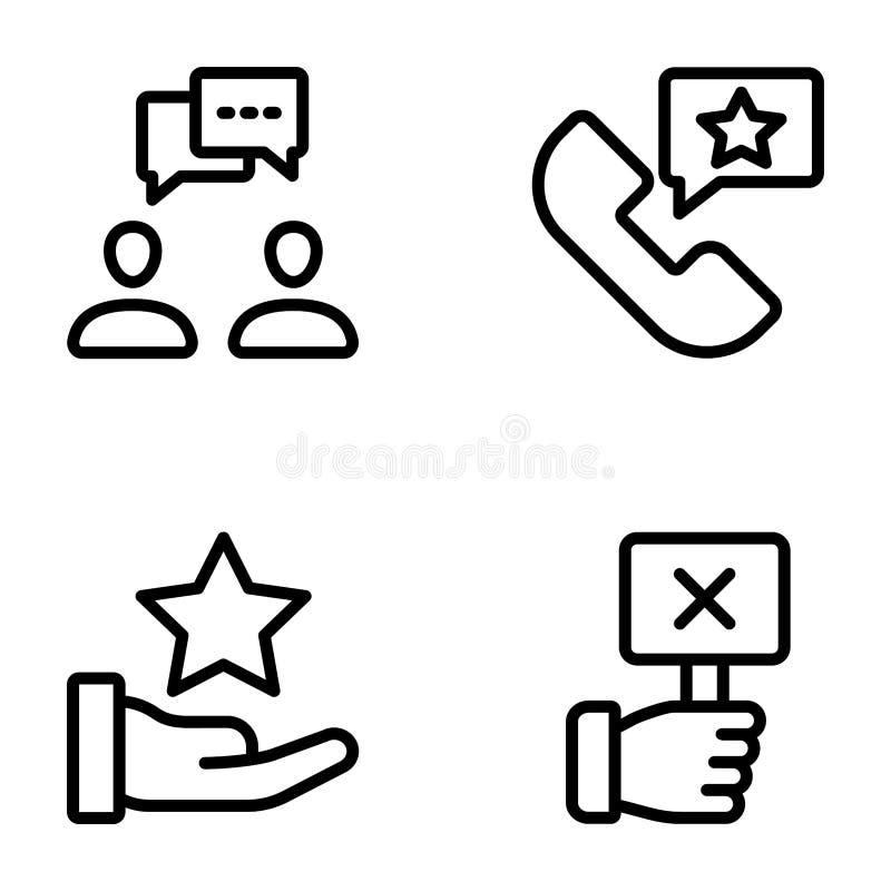 La lista di controllo e le valutazioni allineano le icone imballano illustrazione di stock